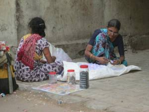 Women at a new site  Facing  livelihood issues