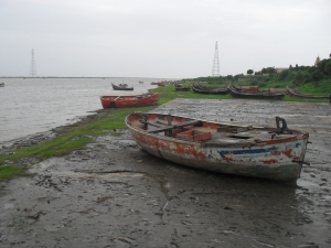 Fishing boat on the mouth of Narmada river