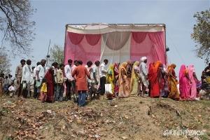 People gathering for a meeting of Mahan Sangharsh Samiti