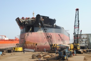 A ship waiting to be recycled at Alang