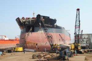 A ship waiting to be recycled at Alang