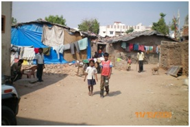 No road, sanitation or any other basic amenity in a slum in Ahmedabad