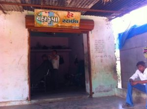A hair-cutting saloon in the village