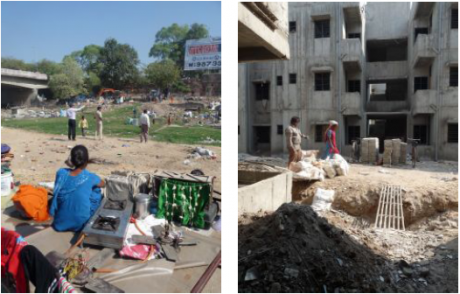 Left: Woman resident witnessing the demolition of her neighbourhood. Right:  Construction at the Rustom Mill resettlement site in December 2011, a month after demolitions on the riverfront