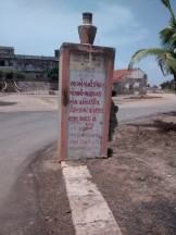 Board put up warning visitors not to go hear the crumbling Holiday Home