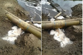 Broken FETP pipeline, polluting nearby areas