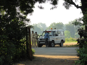 Police picket on October 30-31, 2013 outside Rajpipla Social Service Society  campus to prevent activists to stage protest