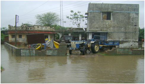 Water-logged Saiyat village, Kheda district