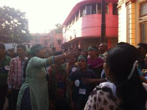 Activists protest in Vadodara, where the body was brought for post mortem