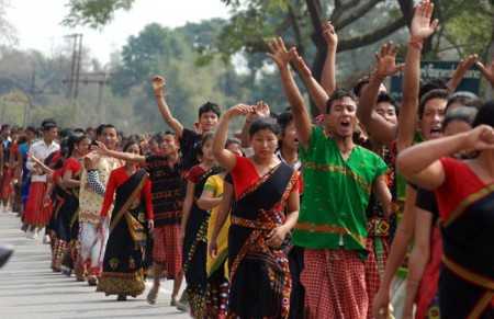 Protest in Assam against Lower Subansiri Project in Arunachal Pradesh