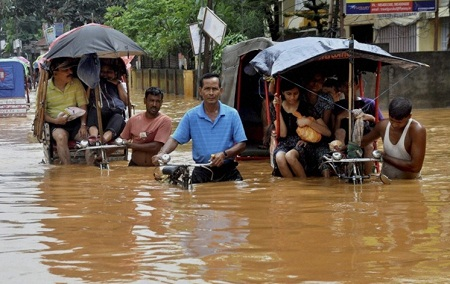 Floods in Brahmaputra river in Guwahati, July 27, 2014
