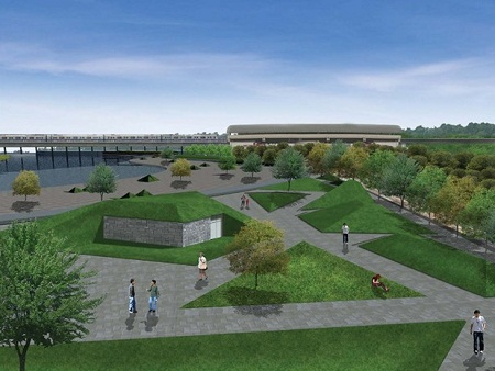 A schematic drawing of Yamuna riverfront, prepared by prepared by design firm Morhogenesis, engaged by the Shahjanabad Redevelopment Corporation