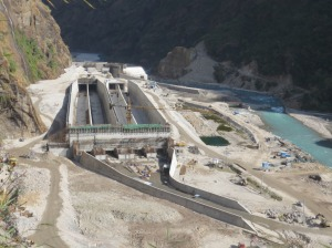 Upper Tamakoshi HEP under construction: It was damaged in the earthquake. Photo Photo from company website