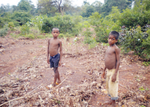 Malnourished children standing in their agricultural turned barren land caused by mining at Dubil village