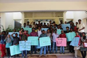 Students protesting against suspension order