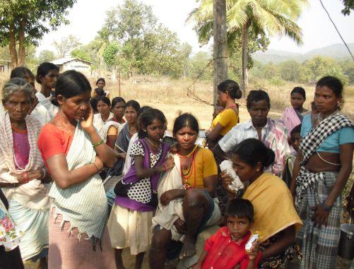 Women waiting outside a thana in Chhattisgarh: A representational image
