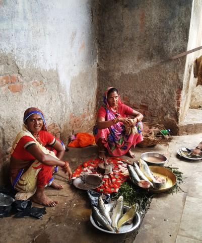 Bustling fish market near Maheshwar