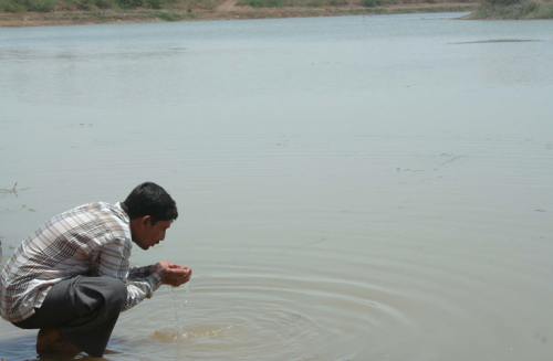 Pethabhai Karabhai, a Sanva resident drinking from the pond
