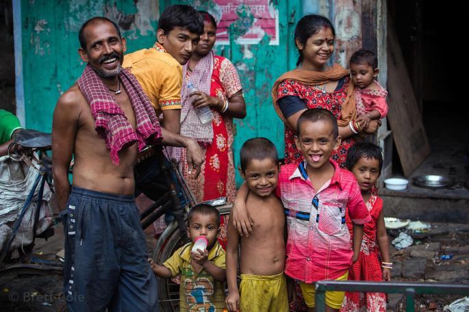 Family living on the street on Strand Rd., Jorabagan, Kolkata, India.